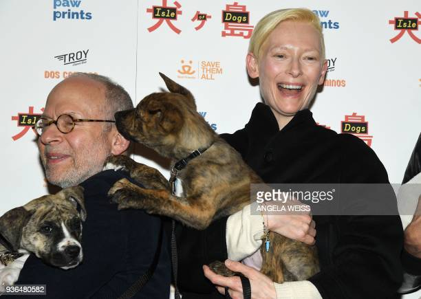 Bob Balaban and Tilda Swinton attend the paw prints special screening of 'Isle of Dogs' at IFC CENTER on March 21 2018 in New York / AFP PHOTO /...