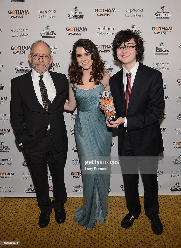 Bob Balaban, Kara Hayward, and Jared Gilman attend the IFP's 22nd Annual Gotham Independent Film Awards at Cipriani Wall Street on November 26, 2012 in New York City.