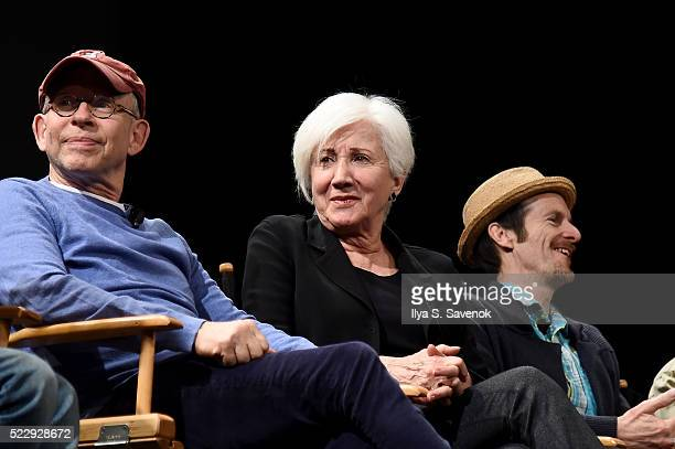 Bob Balaban Olympia Dukakis and Denis O'Hare speak on stage at the Tribeca Talks After The Movie Starring Austin Pendleton at SVA Theatre 2 on April...