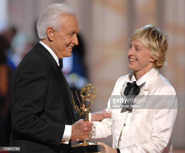 Bob Barker accepts Outstanding Game Show Host award for The Price is Right from presenter Ellen DeGeneres