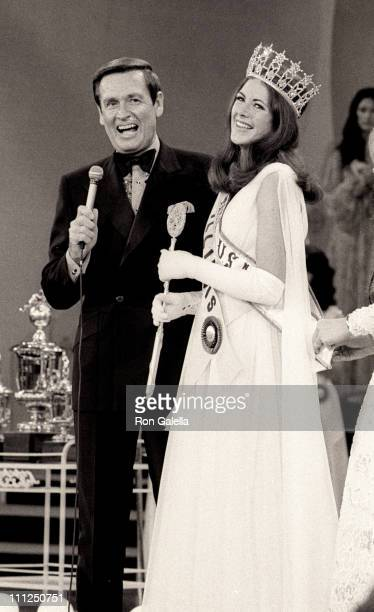 Bob Barker and Amanda Jones during 1973 Miss USA Pageant at Broadway Theater in New York City New York United States