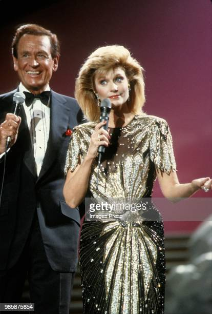 Bob Barker and Mary Frann host Miss Universe circa 1987 in Harborfront Singapore