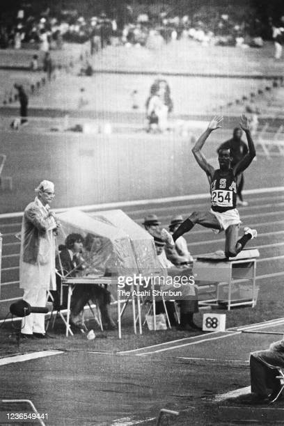 Bob Beamon of the United States competes in the Athletics Men's Long Jump during the Mexico City Summer Olympic Games at Estadio Olimpico...