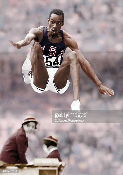 PROCESSED Bob Beamon of the United States setting a new world record of 890 metres for the long jump during the Summer Olympic Games in Mexico City...