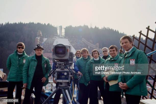 Bob Beattie, Jackie Stewart, Pierre Salinger, Frank Gifford at the 1976 Winter Olympics / XII Olympic Winter Games.