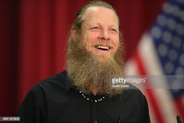 Bob Bergdahl speaks about the release of his son Sgt Bowe Bergdahl during a press conference at Gouen Field national guard training facility on June...