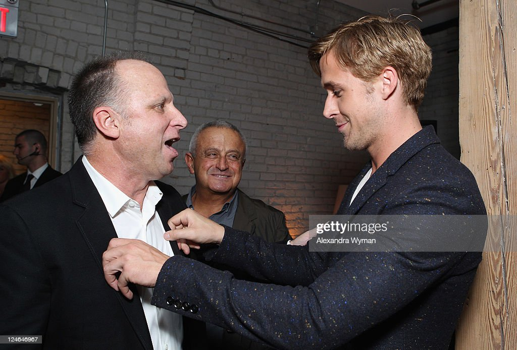 Bob Berney of FilmDistrict (L) and Actor Ryan Goslin (R) attend the 'Drive' party hosted by GREY GOOSE Vodka at Soho House Pop Up Club during the 2011 Toronto International Film Festival on September 10, 2011 in Toronto, Canada.