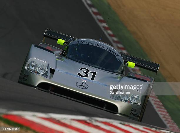Bob Berridge drives the ex Michael Schumacher Mercedes C11 during practice for the HSCC Superprix FIA Historic Group C Sportscar race at the Brands...