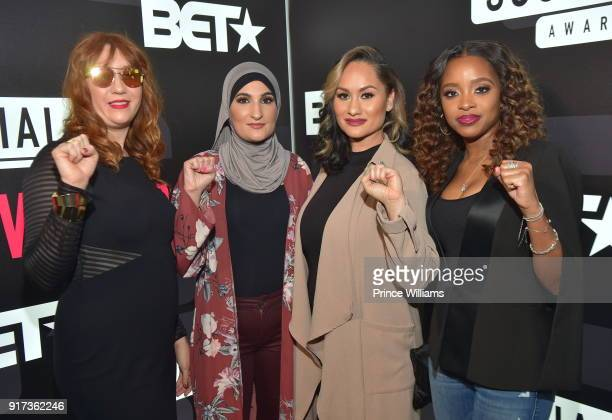 Bob Bland Linda Sarsour Carmen Perez and Tamika D Mallory attend BET Social Awards Red Carpet at Tyler Perry Studio on February 11 2018 in Atlanta...