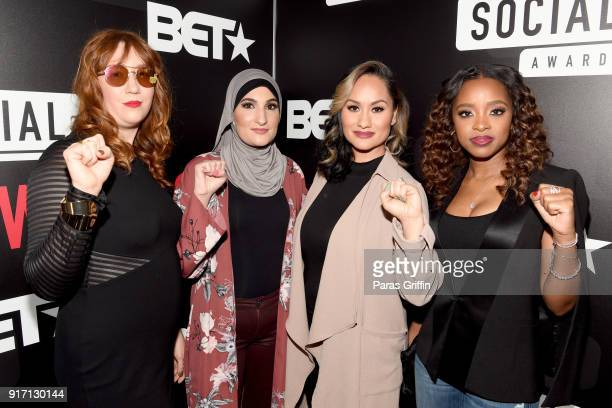 Bob Bland Linda Sarsour Carmen Perez and Tamika D Mallory attend BET's Social Awards 2018 at Tyler Perry Studio on February 11 2018 in Atlanta Georgia