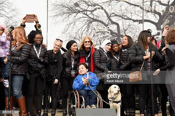 Bob Bland, Nantasha Williams, Ginny Suss, Carmen Perez, Gloria Steinem, Linda Sarsour, Tamika Mallory, Janaye Ingram and Mia Ives-Rublee appear...