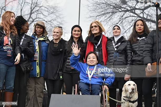 Bob Bland Nantasha Williams Jamiah Adams Ginny Suss Carmen Perez Gloria Steinem Linda Sarsour Janaye Ingram and Mia IvesRublee appear onstage during...