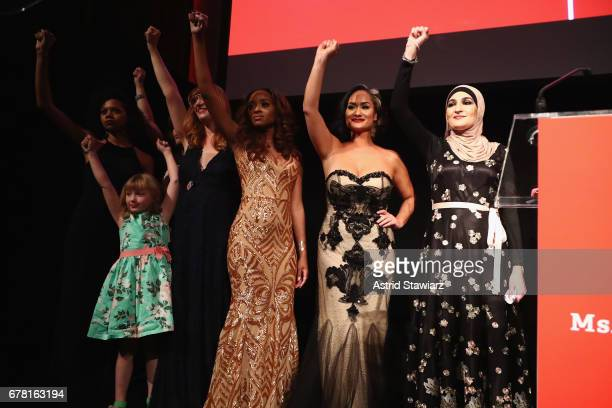 Bob Bland Tamika D Mallory Carmen Perez Linda Sarsour speak onstage at the Ms Foundation for Women 2017 Gloria Awards Gala After Party at Capitale on...