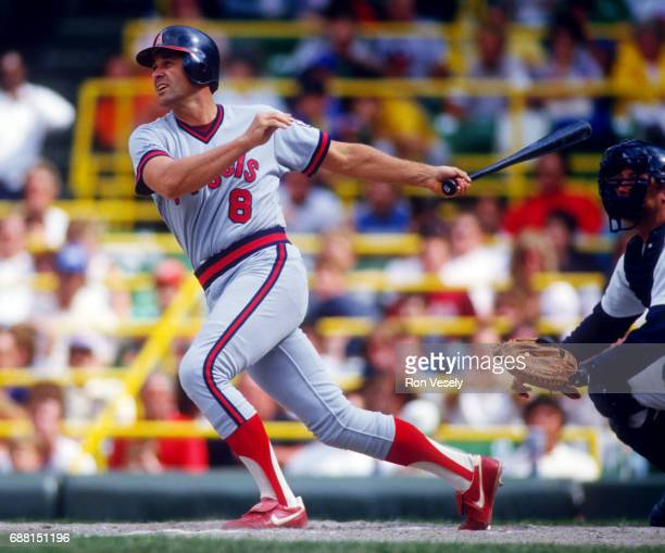 Bob Boone of the California Angels bats against the Chicago White Sox during an MLB game at Comiskey Park in Chicago Illinois Boone played for the...