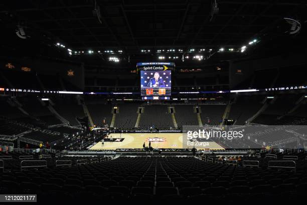 Bob Bowlsby's the commissioner of the Big 12 press conference is displayed on the scoreboard as he announces that Big 12 men's basketball tournament...