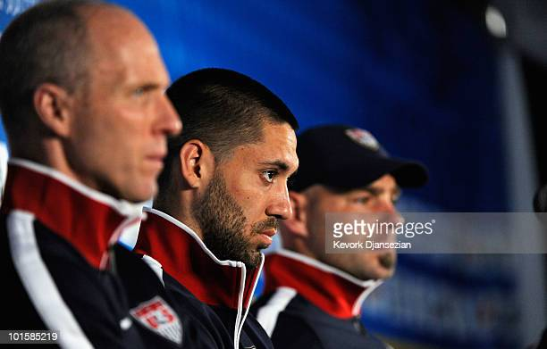 Bob Bradley head coach of US national soccer midfielder Clint Dempsey and goalkeeper Marcus Hahnemann during a news conference at Irene Farm on June...