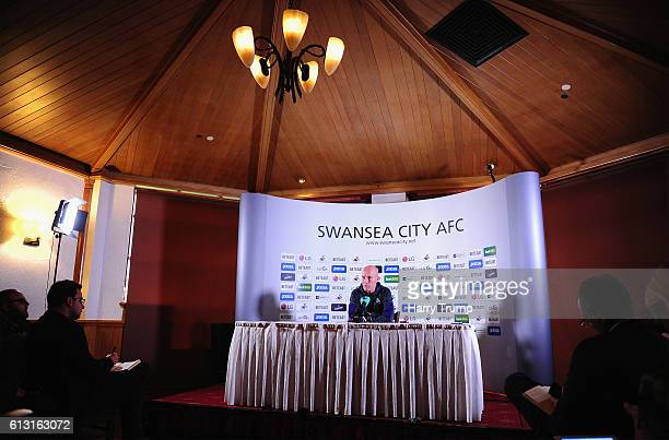 Bob Bradley Manager of Swansea City addresses the media during his unveiling as New Swansea City Manager at the Marriott Hotel on October 7 2016 in...