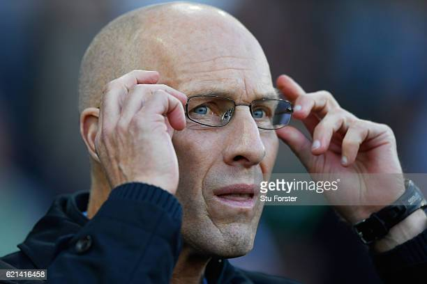 Bob Bradley, Manager of Swansea City looks on during the Premier League match between Swansea City and Manchester United at Liberty Stadium on...