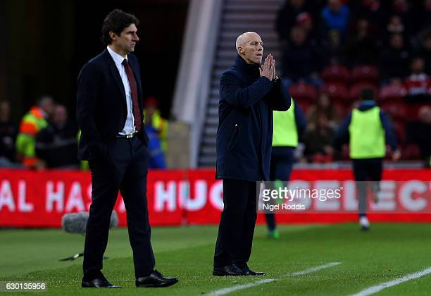 Bob Bradley Manager of Swansea City looks on during the Premier League match between Middlesbrough and Swansea City at Riverside Stadium on December...