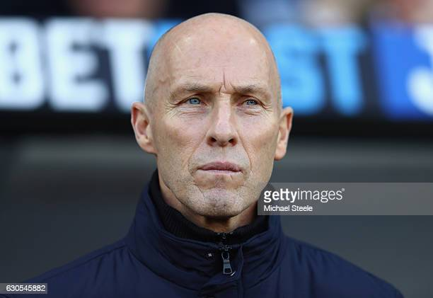 Bob Bradley Manager of Swansea City looks on during the Premier League match between Swansea City and West Ham United at Liberty Stadium on December...