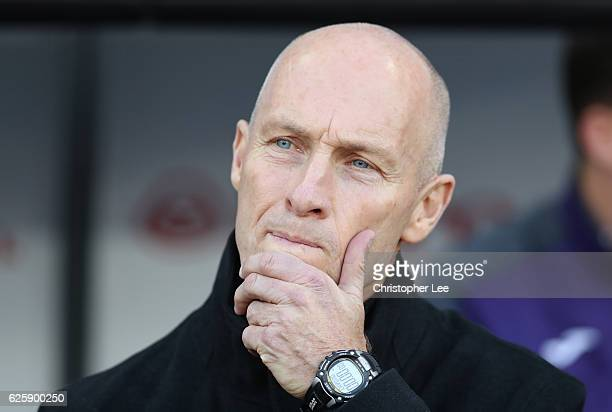 Bob Bradley Manager of Swansea City looks on prior to the Premier League match between Swansea City and Crystal Palace at Liberty Stadium on November...