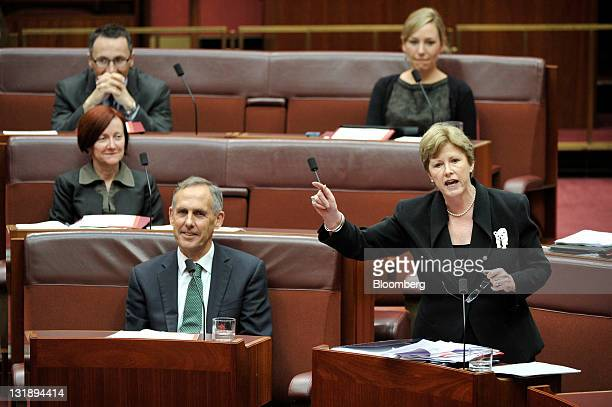 Bob Brown Australian Greens party leader front left looks on as Christine Milne Greens deputy leader front right speaks during a debate on the Clean...