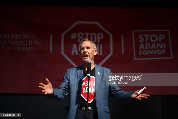 Bob Brown environmentalist and former leader of the Australian Greens speaks as part of the 'Stop Adani Convoy' event on April 18 2019 in Melbourne...