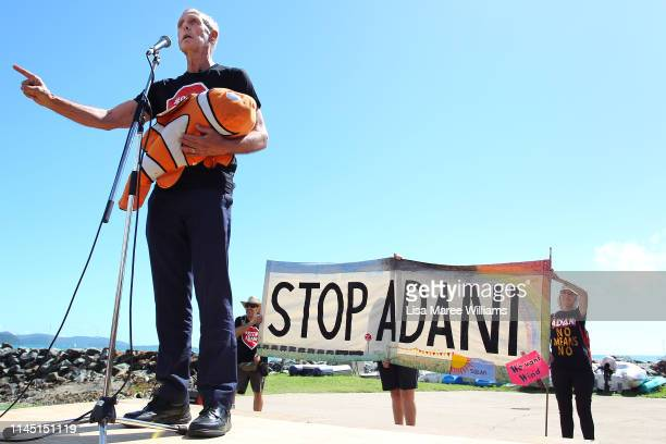 Bob Brown holds a toy Nemo doll given to him by an audience member as he speaks during a anti Adani Carmichael Coal Mine rally on April 26 2019 in...