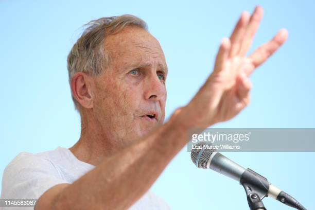 Bob Brown speaks to antiAdani coal mine supporters during a rally at Clermont Showground on April 28 2019 in Clermont Australia Former Greens leader...