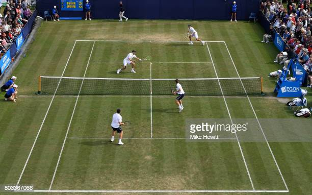 Bob Bryan and Mike Bryan of the United States and Neal Skupski and Ken Skupski of Great Britain in action during the men's doubles quarter final...