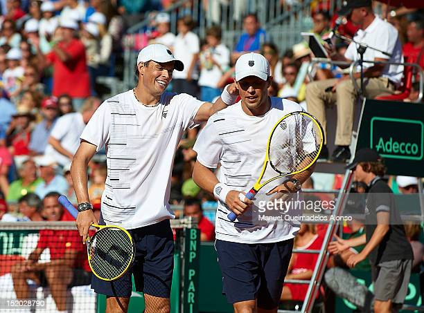 Bob Bryan and Mike Bryan of the United States celebrates a point againist Marcel Granollers and Marc Lopez of Spain during day two of the semi final...