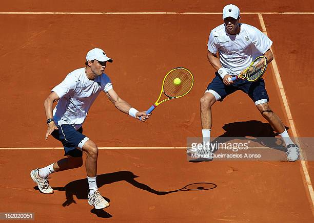Bob Bryan and Mike Bryan of the United States in action againist Marcel Granollers and Marc Lopez of Spain during day two of the semi final Davis Cup...