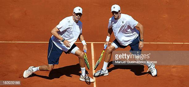 Bob Bryan and Mike Bryan of the United States in action against Marcel Granollers and Marc Lopez of Spain during day two of the semi final Davis Cup...