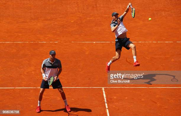Bob Bryan and Mike Bryan of the United States in action against Nikola Mektic of Croatia and Alexander Peya of Austria in the mens doubles final...