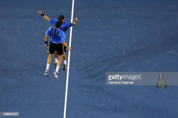 Bob Bryan and Mike Bryan of the United States of America celebrate after winning their men's doubles final match against Mahesh Bhupathi and Leander...