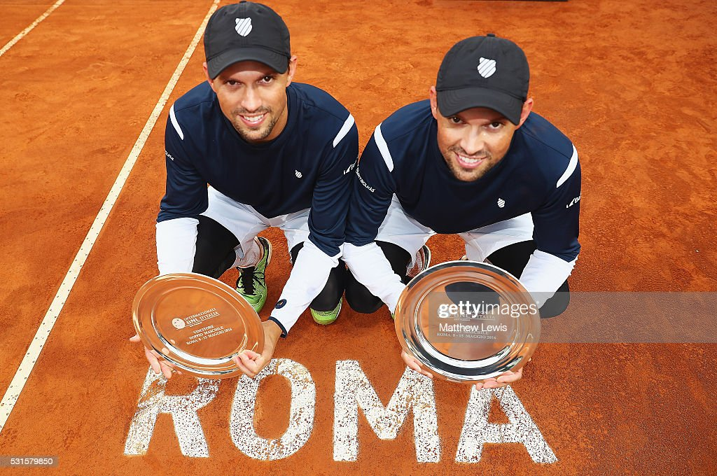 Bob Bryan and Mike Bryan of the United States pictured after winning the Final against Vasek Pospisil of Canada and Jack Sock of the United States during the Mens Doubles Final during day eight of The Internazionali BNL d'Italia 2016 on May 15, 2016 in Rome, Italy.