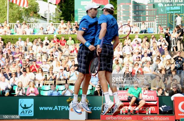Bob Bryan and Mike Bryan of USA celebrates after winning the double match against Tomas Berdich and Lukas Dlouhy of Czech Republic during day six of...