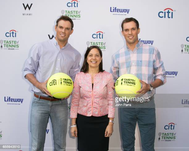Bob Bryan Mike Bryan and Mindy Mercaldo arrive at the Citi Taste Of Tennis Miami at W Hotel on March 20 2017 in Miami Florida