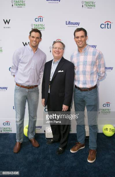 Bob Bryan Mike Bryan and Will Howle arrive at the Citi Taste Of Tennis Miami at W Hotel on March 20 2017 in Miami Florida