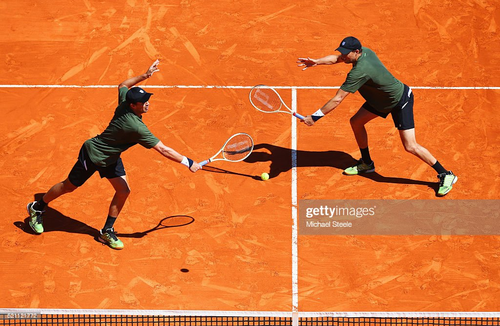Bob Bryan of the United States (R) and Mike Bryan of the United States in action during the round two doubles match against Juan Sebastian Cabal of Colombia and Robert Farah of Colombia on day five of Monte Carlo Rolex Masters at Monte-Carlo Sporting Club on April 14, 2016 in Monte-Carlo, Monaco.
