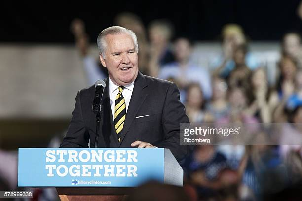 Bob Buckhorn mayor of Tampa speaks during a campaign event with Hillary Clinton presumptive 2016 Democratic presidential nominee not pictured in...
