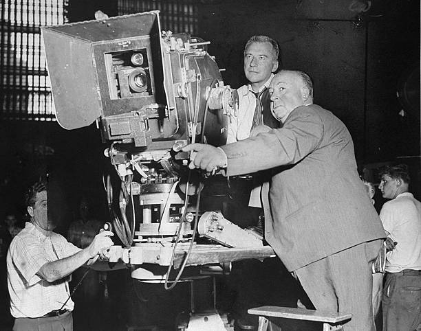 Bob Burke and Alfred Hitchcock (right) on location at Grand
