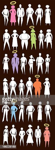 Bob Campbell color illustration of mostly white silhouettes of a variety of people some in color with halos above their heads