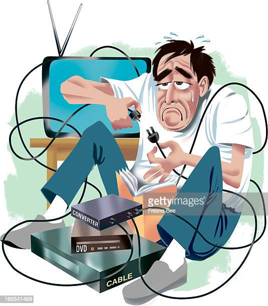 Bob Campbell color illustration of unhappy guy sitting by the television and struggling with digitalconverter box cable and DVD wires