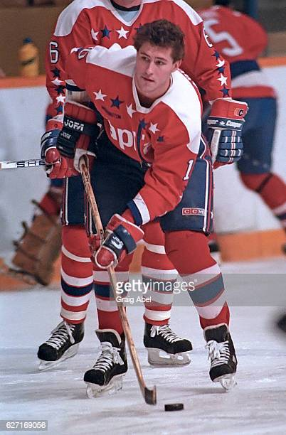 Bob Carpenter of the Washington Capitals skates in warmup prior to a game against the Toronto Maple Leafs on October 9 1991 at Maple Leaf Gardens in...