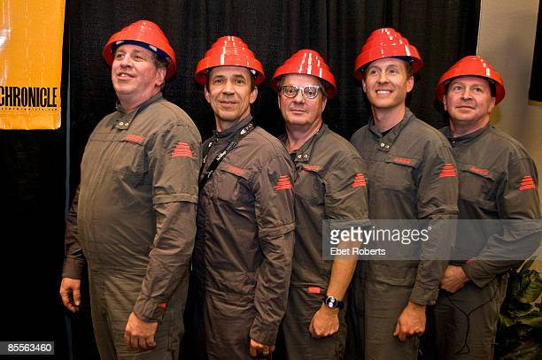 AUSTIN TX MARCH 19 Bob Casale Bob Mothersbaugh Mark Mothersbaugh Josh Freese and Gerald Casale of Devo pose backstage at a press conference during...