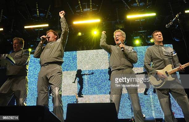Bob Casale Gerald Casale Mark Mothersbaugh and Bob Mothersbaugh of Devo perform as part of the Coachella Valley Music and Arts Festival at the Empire...