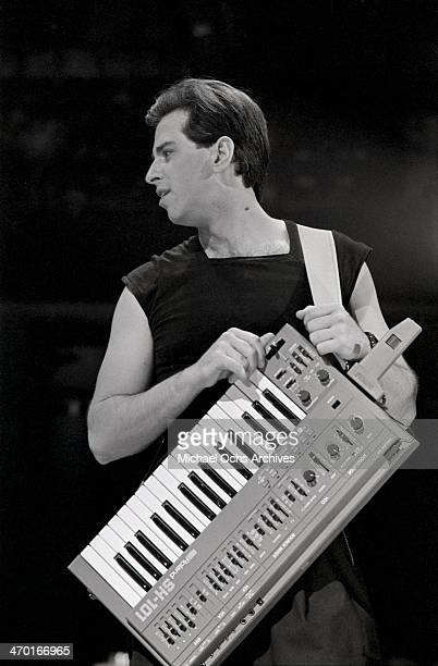 Bob Casale of the new wave punk music group 'Devo' performs on September 21 1980 in Los Angeles California