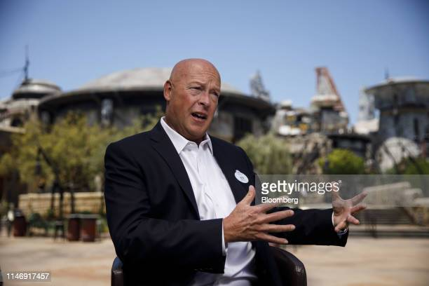 Bob Chapek chairman of Walt Disney Parks and Experiences speaks during a Bloomberg interview at an unveiling event of Star Wars Galaxy's Edge at Walt...