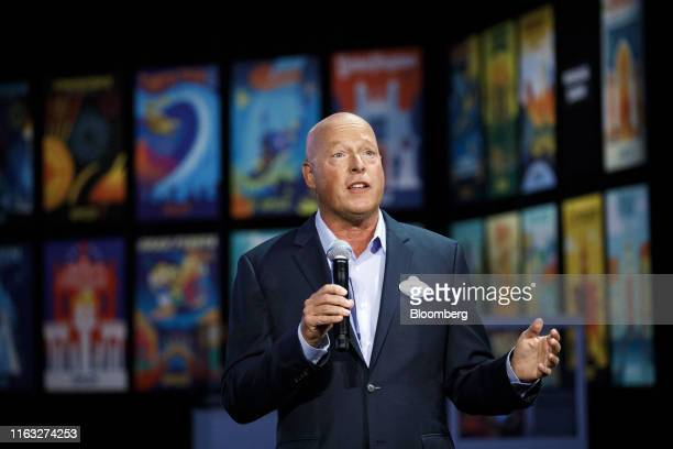 Bob Chapek chairman of Walt Disney Parks and Experiences speaks during a media preview of the D23 Expo 2019 in Anaheim California US on Thursday Aug...